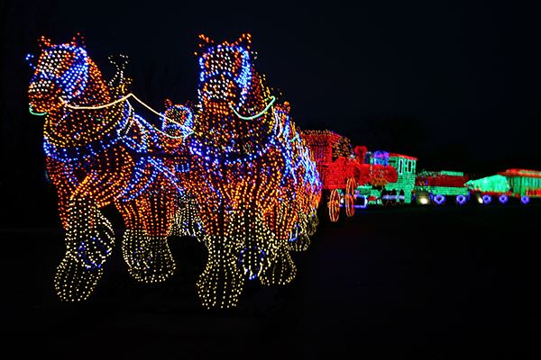 Clydesdales lighted display followed by lighted train display