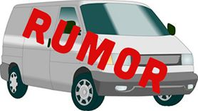 A white van with the word Rumor written diagonally across it
