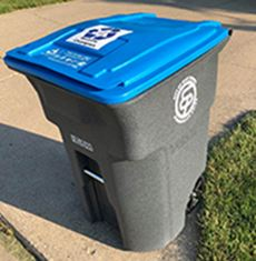 Blue lid recycling toter
