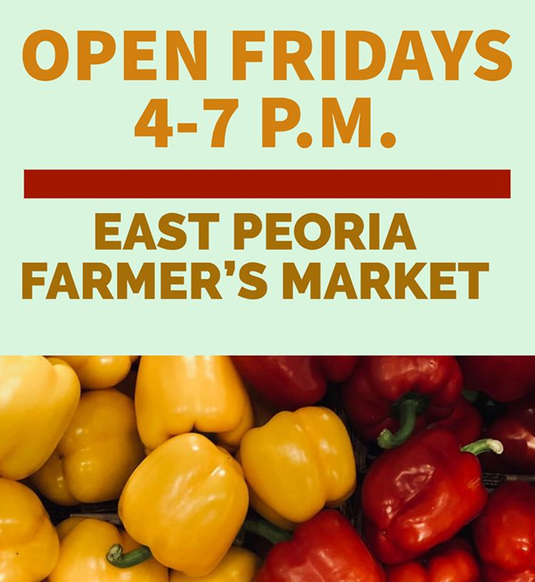 Picture of peppers and words Farmers Market Open Fridays