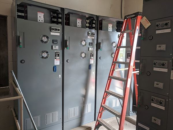 Computer drive cabinets in a room