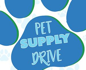 Partial drawing of a paw print with the words Pet Supply Drive