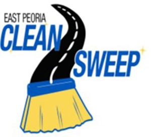 Drawing of a broom and road and text &#34East Peoria Clean Sweep&#34