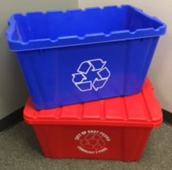small red blue recycling bins
