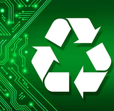 Recycling logo against a green background