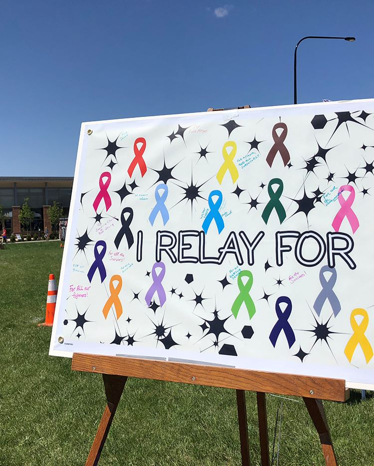 Poster showing colorful cancer ribbons and words I Relay For
