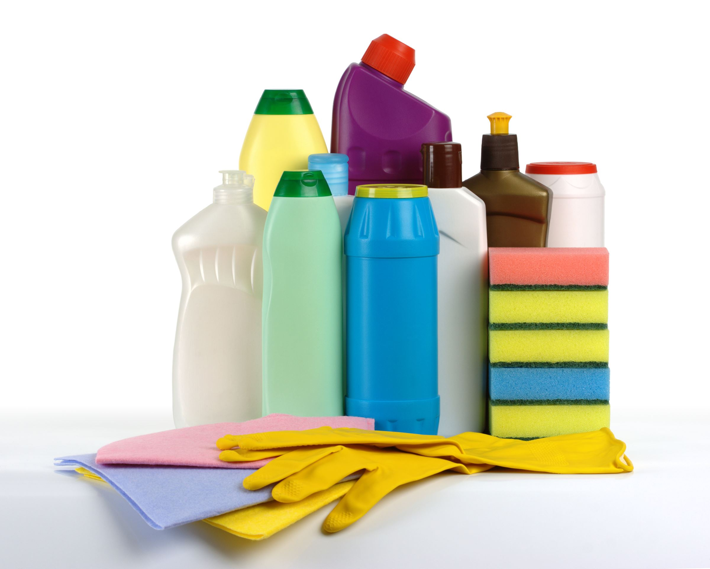 Bottles of cleaners, rubber gloves and sponges