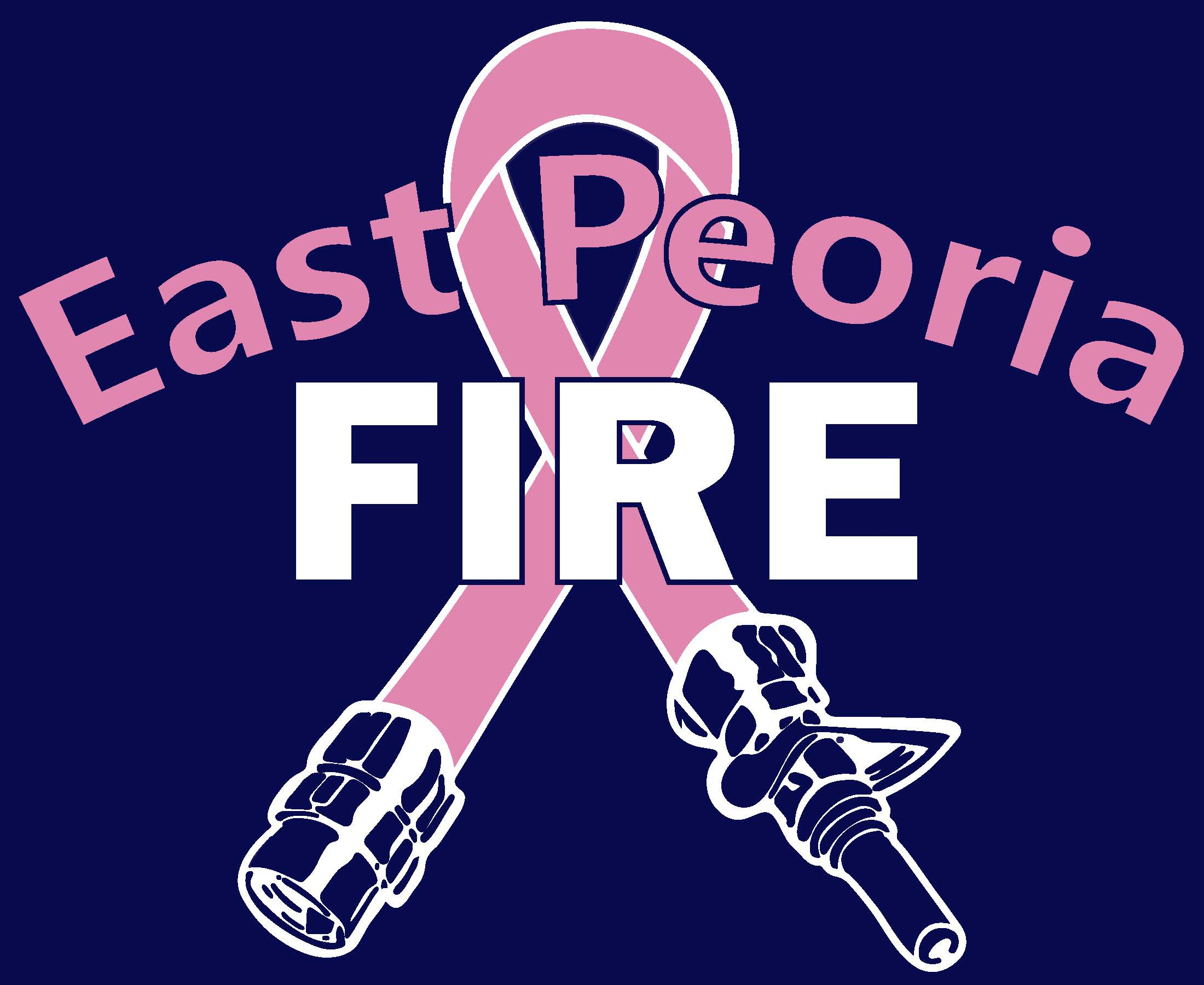 Words EastPeoria Fire with a pink fire hose shaped like the breast cancer awareness ribbon