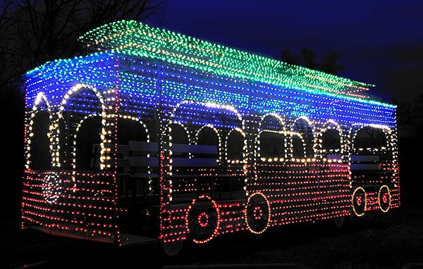 Lighted Trolley parade float